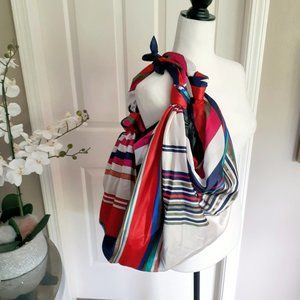 NWOT Zara coloured stripe print knotted bucket bag